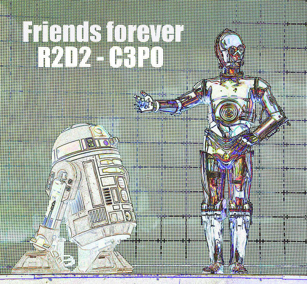 Wall Art - Digital Art - Friends Forever R2d2 And C3po by David Lee Thompson