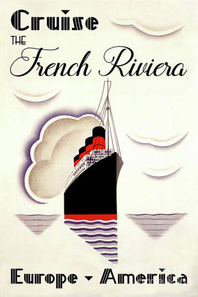 Wall Art - Painting - French Art Deco Vintage Cruise Ship Travel Poster by Tina Lavoie