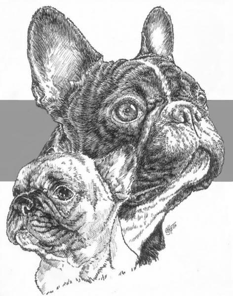 Drawing - French Bulldog And Pup by Barbara Keith