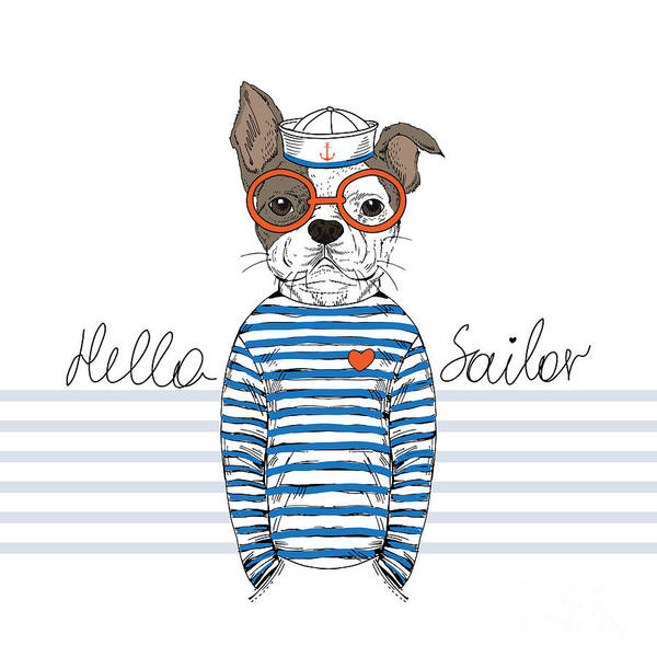 Wall Art - Digital Art - French Bulldog Sailor, Nautical by Olga angelloz