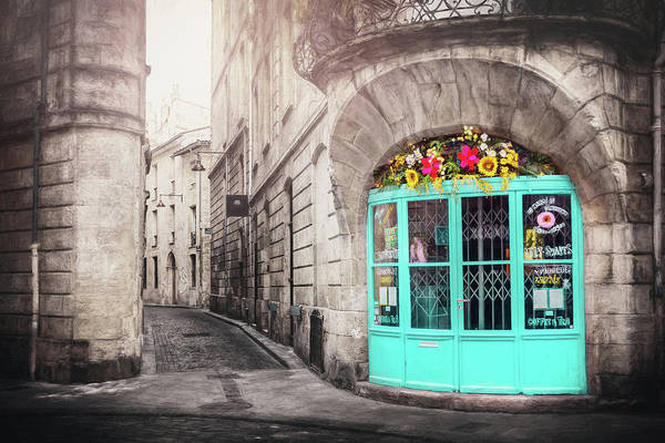 Wall Art - Photograph - French Cafe With Blue Doors Bordeaux France  by Carol Japp