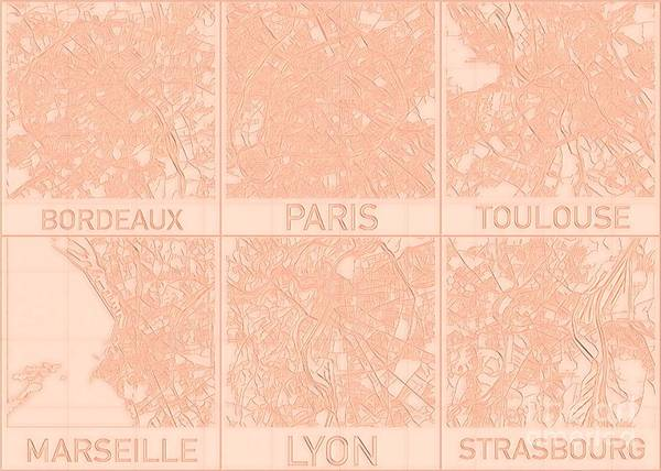 Digital Art - French Cities Blueprint Maps Alt by Helge