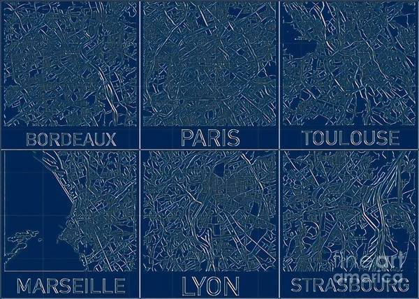 Digital Art - French Cities Blueprint Maps by Helge