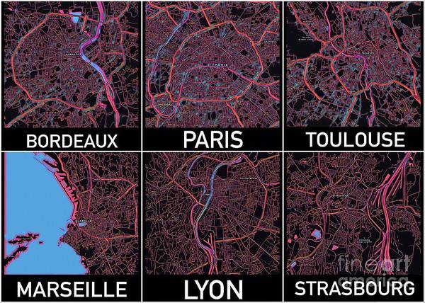 Digital Art - French Cities Maps by Helge