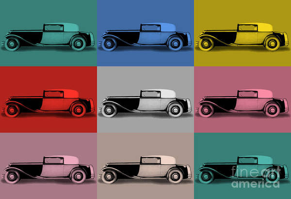Digital Art - French Classic Car Pop Art by Aapshop