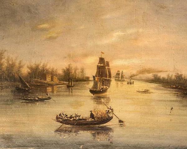 Wall Art - Painting - French Colonial School, 19th Century, Ships And Native Craft On An Estuary by Celestial Images