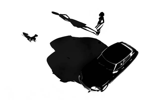 Digital Art - French Girl With Car by Jan Keteleer