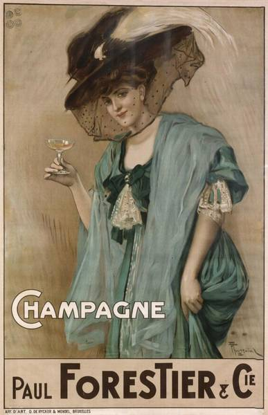 French Poster Advertising Champagne Art Print