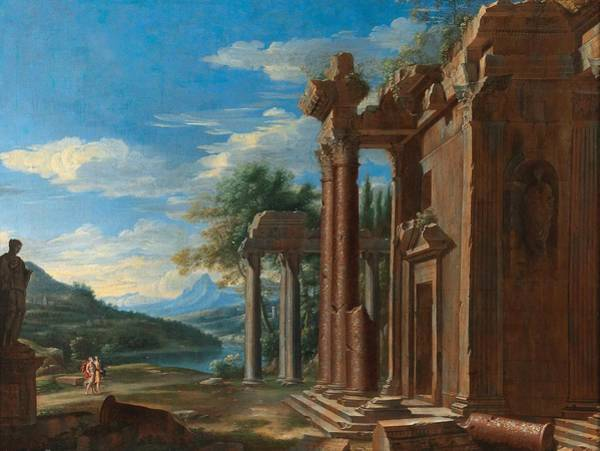 Wall Art - Painting - French School, 17th Century A Capriccio Landscape With Classical Ruins by Celestial Images