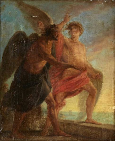 Wall Art - Painting - French School About 1820 Daidalos And Ikaros by Celestial Images