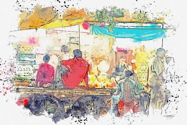 Painting - Fresh Bazaar, New Delhi, India -  Watercolor By Adam Asar by Adam Asar