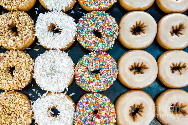Wall Art - Photograph - Fresh Donuts With Different Toppings by Arina P Habich