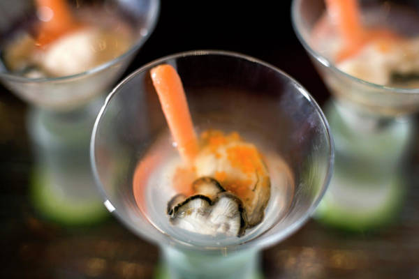 Oyster Bar Wall Art - Photograph - Fresh Raw Oyster Shooters by Lara Hata