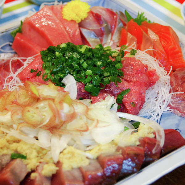 Japanese Culture Photograph - Fresh Sashimi Raw Fish Plate At Home by Ippei Naoi