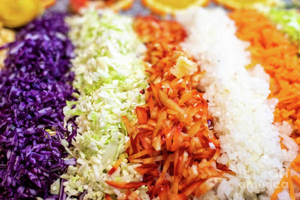 Photograph - Fresh Slice Of Vegetables, Red Pepper, Carrots, Cabbage And Onion by Joaquin Corbalan