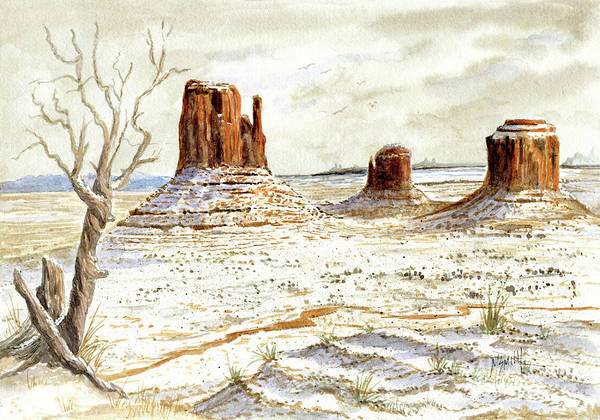 Smith Rock Painting - Fresh Snow In Monument Valley by Marilyn Smith