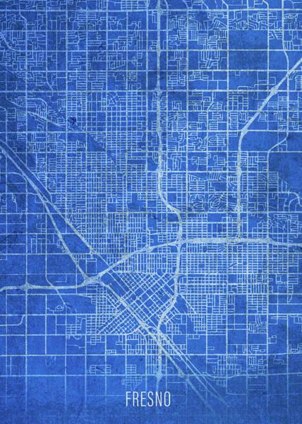 Wall Art - Mixed Media - Fresno California City Street Map Blueprints by Design Turnpike