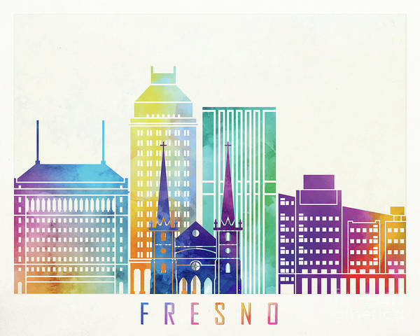 Wall Art - Painting - Fresno Landmarks Watercolor Poster by Pablo Romero