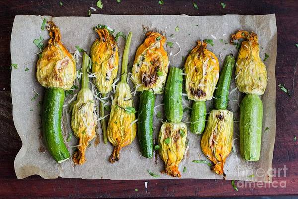 Wall Art - Photograph - Fried Zucchini Flowers Stuffed With by Lapina Maria