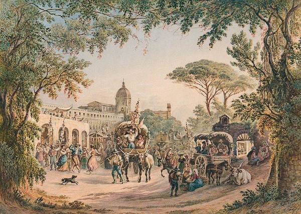 Wall Art - Painting - Friedrich Horner Rural Festival At The Gates Of Rome by Friedrich Horner