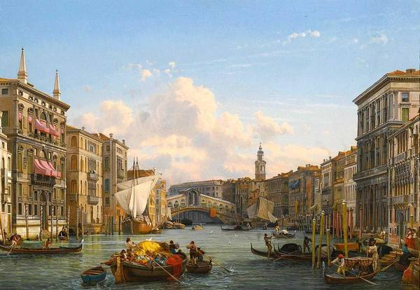 Wall Art - Painting - Friedrich Nerly -private Collection. A View Of The Grand Canal Looking Towards The Rialto Bridge, V by Friedrich Nerly