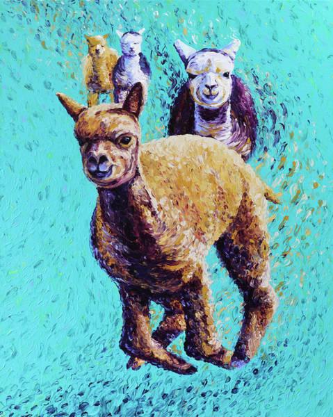 Alpaca Painting - Friendly Frolic by Bari Rhys