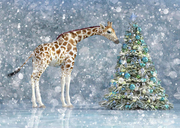 Wall Art - Digital Art - Friendly Giraffe Holidays by Betsy Knapp