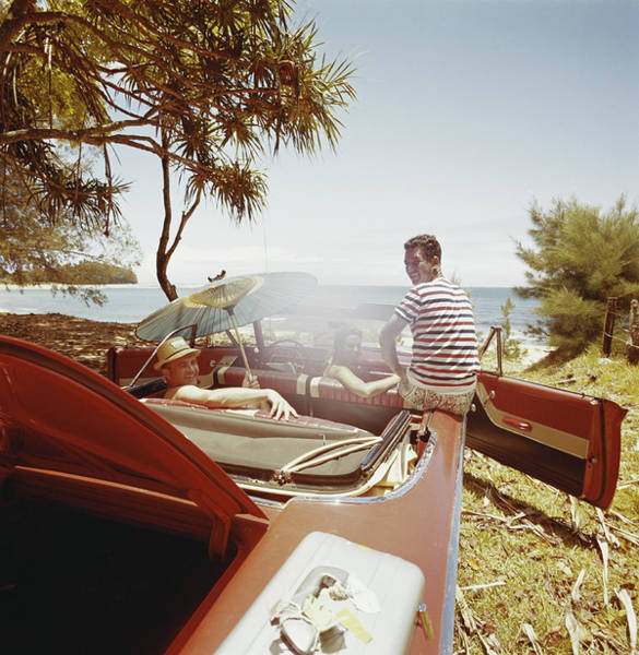 Photograph - Friends Sitting In Car Near Beachside by Tom Kelley Archive