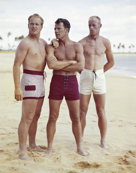 Adult Male Photograph - Friends Standing On Beach by Tom Kelley Archive