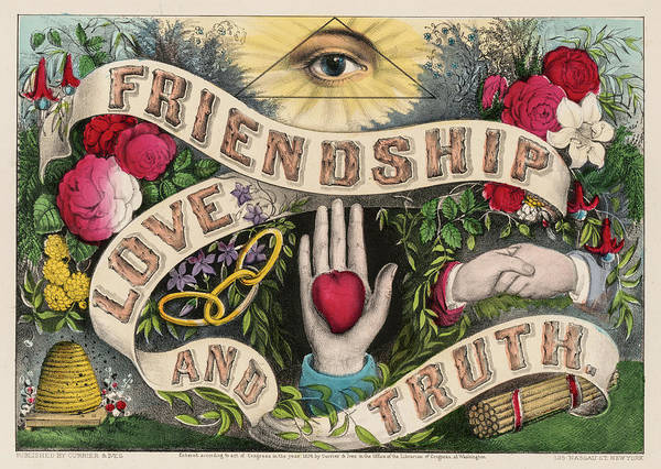 Wall Art - Painting - Friendship Love And Truth, 1874 by American School