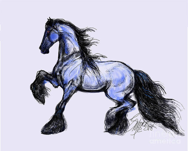 Digital Art - Friesian Mare by Stacey Mayer