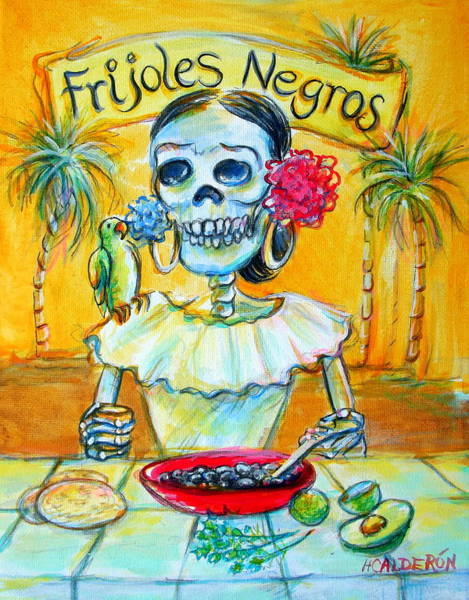 Wall Art - Painting - Frijoles Negros by Heather Calderon