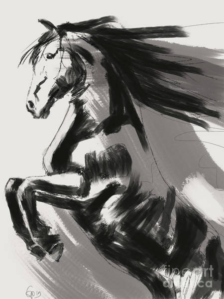 Painting - Frisian Rising Horse by Go Van Kampen