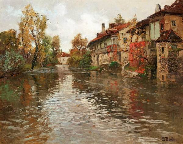 Wall Art - Painting - Frits Thaulow,   Along The River, Beaulieu  by Frits Thaulow