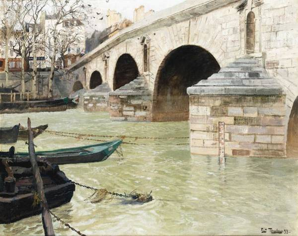 Wall Art - Painting - Frits Thaulow Oslo 1847 - 1906 The Pont Marie In Paris by Frits Thaulow