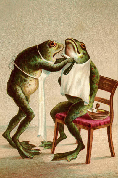 Frog Getting A Shave Art Print