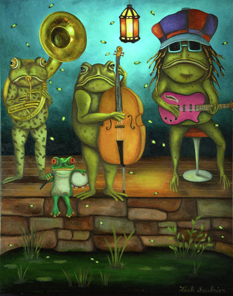 Wall Art - Painting - Frog Music by Leah Saulnier The Painting Maniac