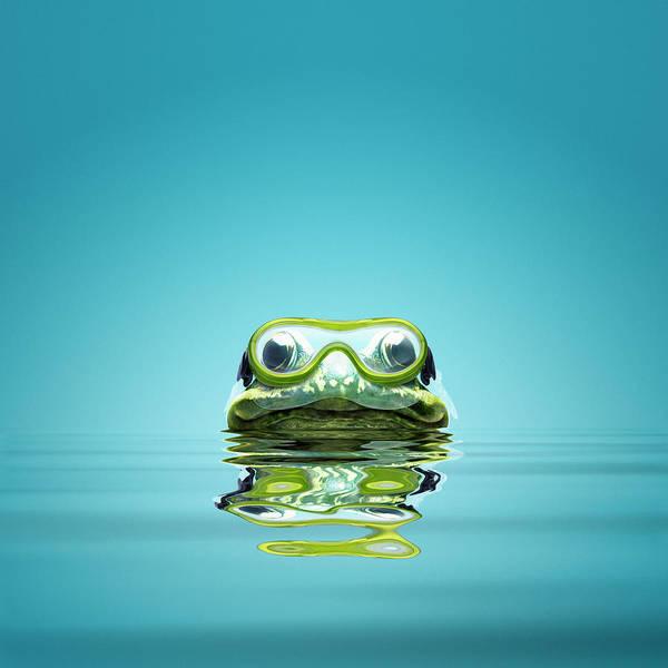 Snorkel Photograph - Frog Snorkeling V3 by Maarten Wouters