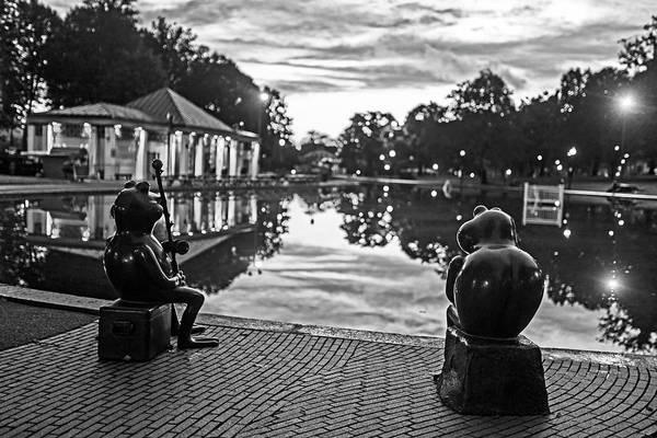 Photograph - Frogs Meditating On The Sunset Boston Ma Boston Common Frog Pond Black And White by Toby McGuire