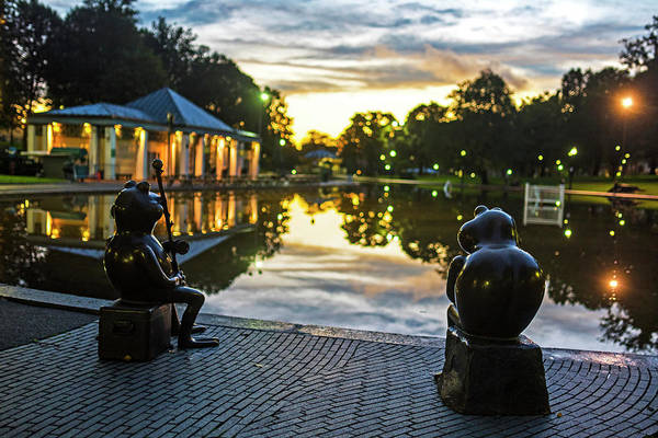 Photograph - Frogs Meditating On The Sunset Boston Ma Boston Common Frog Pond by Toby McGuire