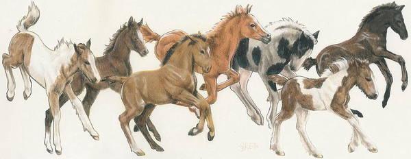 Mixed Media - Frolicking Foals by Barbara Keith