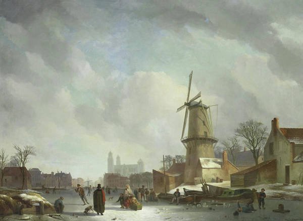 Figure Skater Painting - Frolicking On A Frozen Canal In A Town by Abraham Johannes Couwenberg