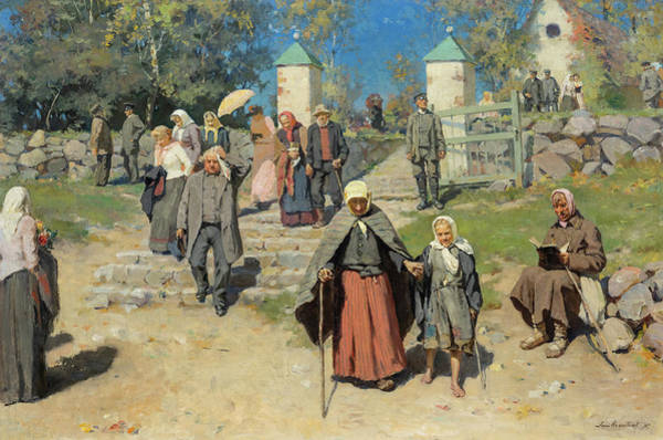 Wall Art - Painting - From The Cemetery, 1895 by Janis Rozentals