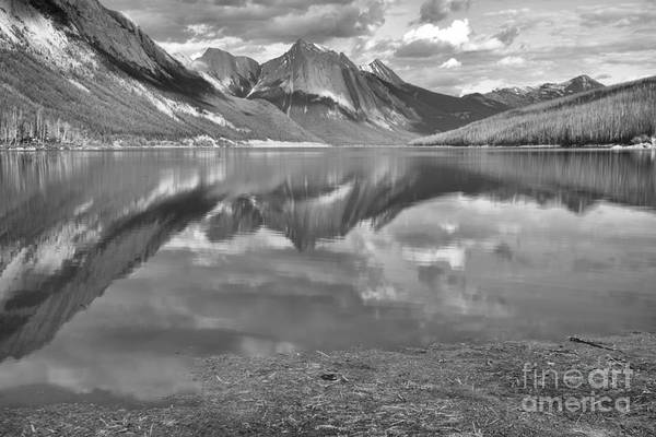 Photograph - From The Shore To The Peaks At Medicine Lake Black And White by Adam Jewell