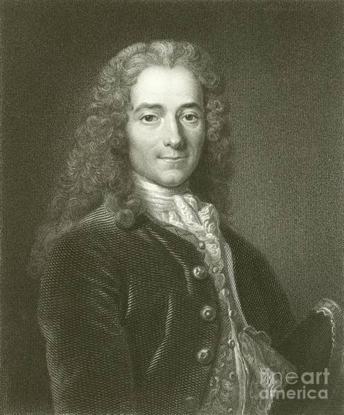 Wall Art - Drawing - Fromcois Marie Arouet, Voltaire, Engraving by English School