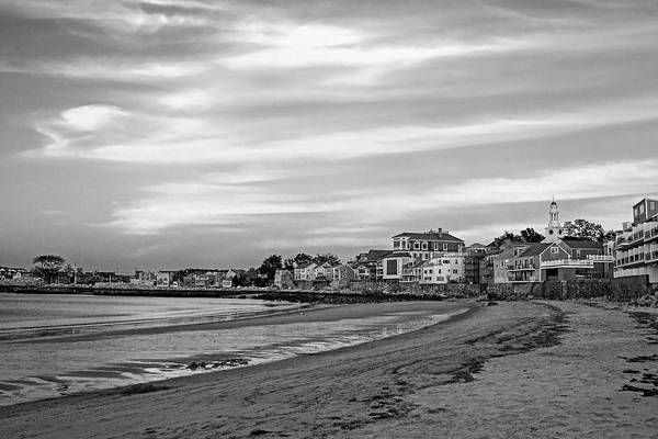 Photograph - Front Beach Rockport Ma At Sunser Red Clouds Streaking Black And White by Toby McGuire