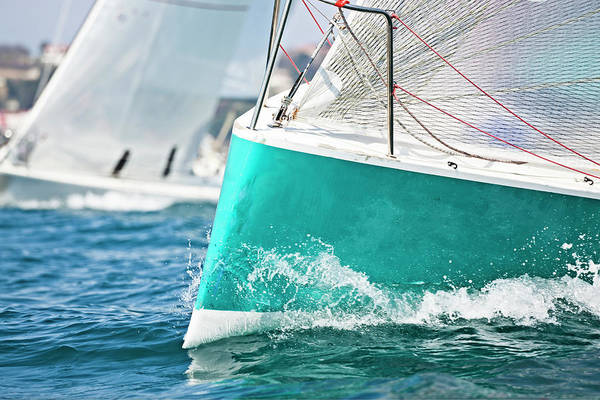 Extreme Sport Photograph - Front Of A Sailing Boat In A Regatta by Gaspr13