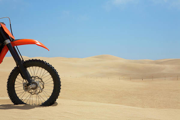 Motocross Photograph - Front Of  Motorcycle In Dunes by Jason Todd