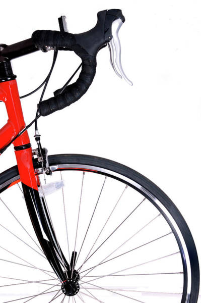 Bicycle Photograph - Front Of Red And Black Bike And Front by Kledge