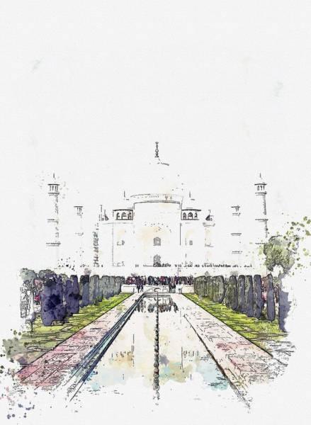 Painting - Front View Of Taj Mahal, Agra, India  C2019, Watercolor By Adam Asar by Adam Asar